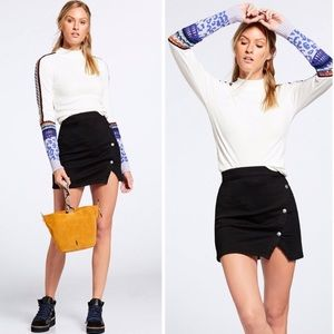 Free People Skirts - FREE PEOPLE Notched Side Button Denim Miniskirt 10